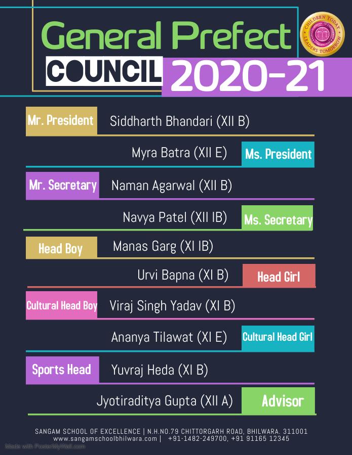 Prefect Council Declared | Seniors | Session 2021-22