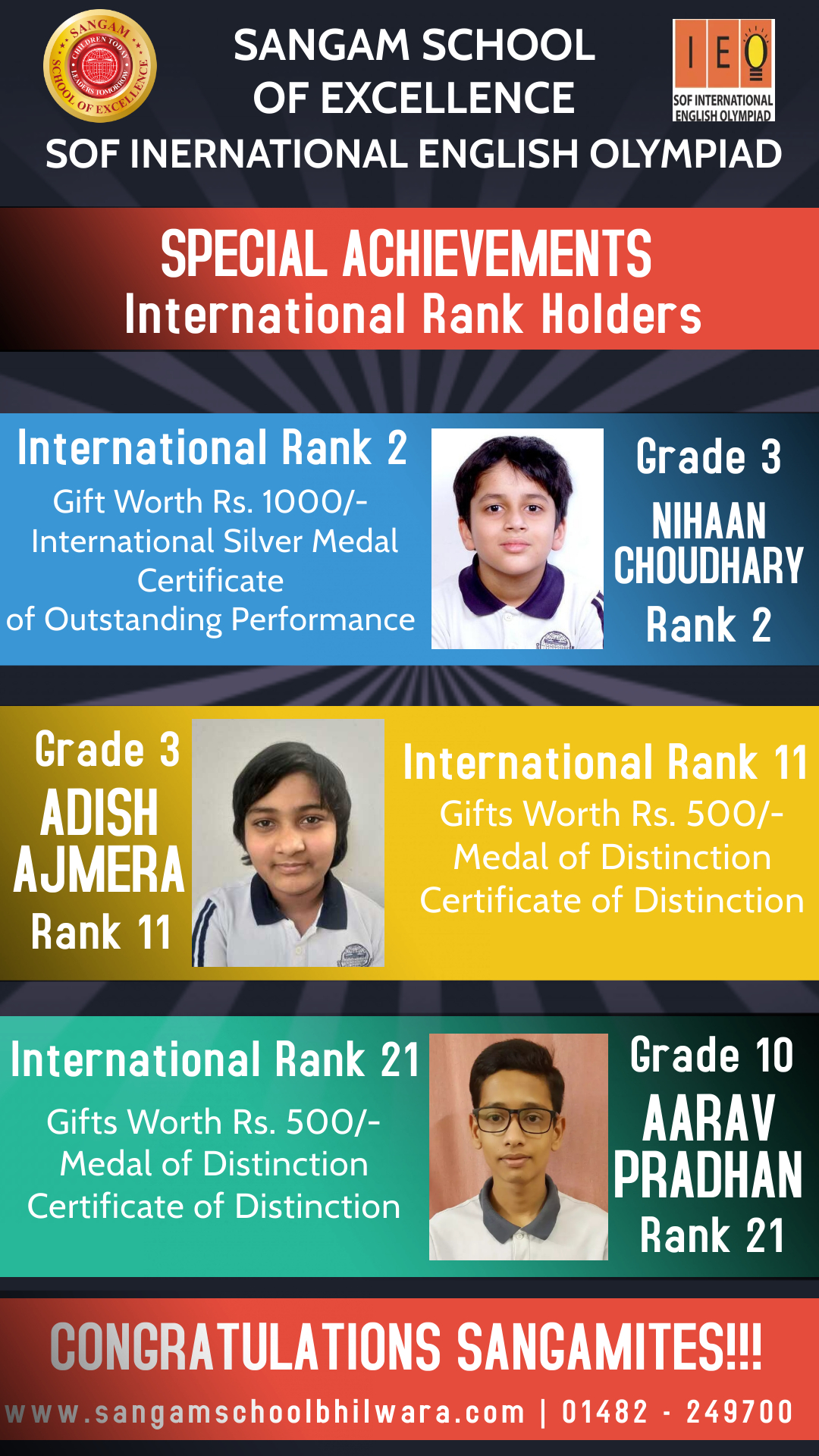 SOF – IEO International Rank Holders from Sangam School