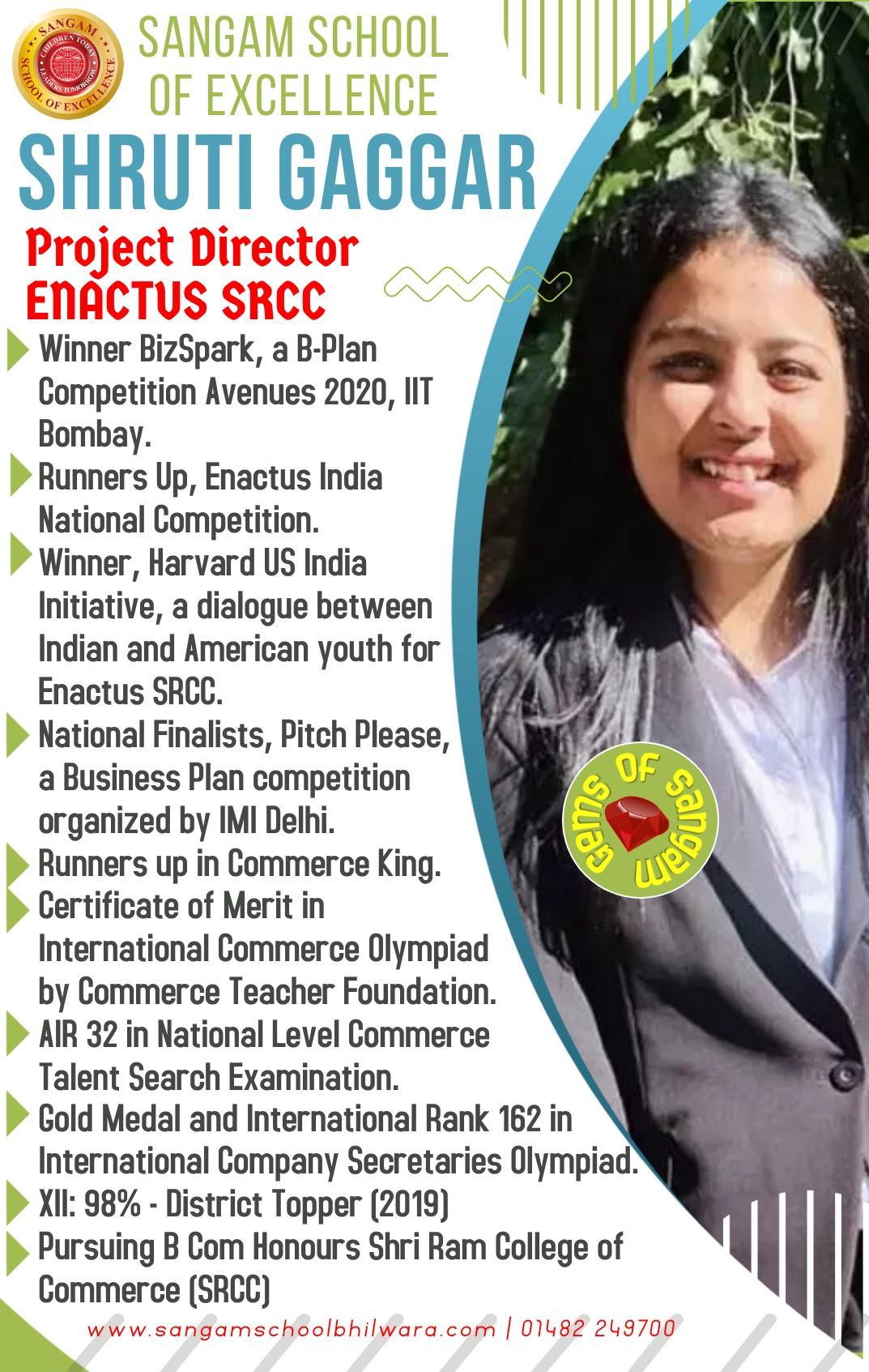 Shruti Gaggar, Project Director at Enactus SRCC
