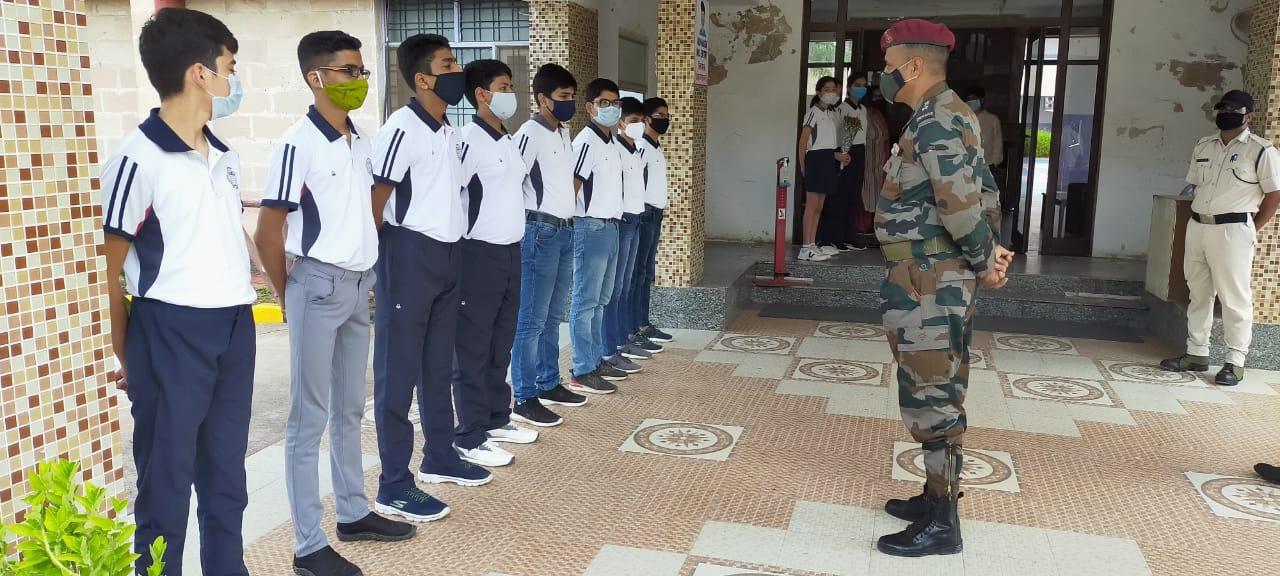 Lt. Col. Tajinder Sharma, Command Officer, visited Sangam School of Excellence.